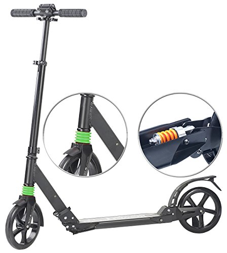 PEARL Scooter: Klappbarer Profi-City-Roller, XXL-Räder, 2-fache Federung, bis 100 kg (Tretroller) (3-rad-klapp-roller)