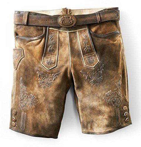 Kurze Trachtenlederhose Herren Ammersee Ziller antik, urig und speckig mit Gürtel NEU, Größen Hosen:54