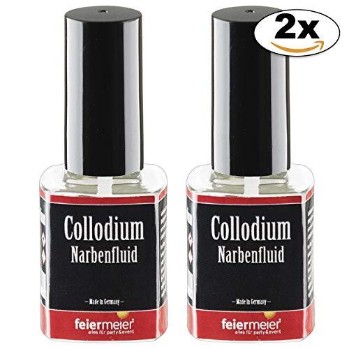 feiermeier Narbenfluid Collodium Sparset 2x11ml Pinselflasche für realistische Narben 2x11ml. Collodium / Collodion - Hallowe Horror Schminke Makeup (Collodium Make Up)