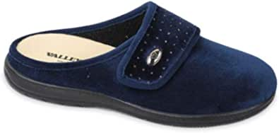 Valleverde 25106 pianelle Pantofole Donna Blu con Plantare Estraibile e Strappo