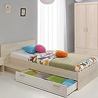 Preisvergleich für Jugendbett 90*200 cm inkl Bettkasten akazie grau / weiß Jugendliege Kinderbett Bettliege Bett Bettgestell Jugendzimmer Kinderzimmer