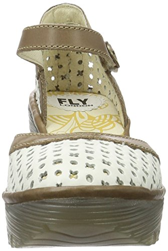 FLY London Yadu732, Sandales Compensées   Femme Blanc Cassé (Off White/Grey 006)