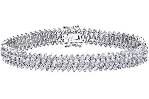 Naava Women's Diamond 3-Row Bracelet, 9 ct White Gold, Prong Setting 1.5 ct Diamond Weight, Model PBC1873