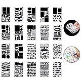 Set di 20 Stencil Pittura Kit Journal Bullet Stencil in Plastica Drawing Template 18x10.8cm over 1000 Diversi Disegni Plastic Planner per Notebook Diary Scrapbook Art Progetti Creativi fai da te