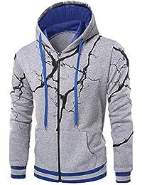 BUSIM Men's Long Sleeve Sweater Fall/Winter Lightning Print Casual Slim Hooded Pullover Sweatshirt Jacket Jacket...