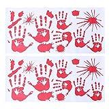 STOBOK Rojo gráfico Sangriento Pegatina Salpicadura de la Mano de impresión para Disfraces de Halloween Etiqueta engomada de la decoración 2 unids