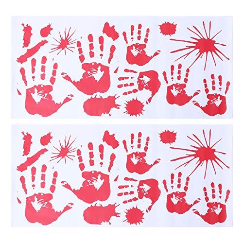 YeahiBaby Halloween blutigen Aufkleber Splatter Hand Druck für Halloween Kostüm Dekor Aufkleber Aufkleber 2ST (Für Hand-drucke Halloween)