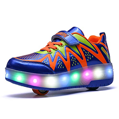 Unisex Niños Luz LED para Arriba Zapatillas de Rodillos de Rueda Doble Individuales Entrenamiento de Deportes al Aire Libre Zapatillas de Skateboard (31 EU, Azul 8082)