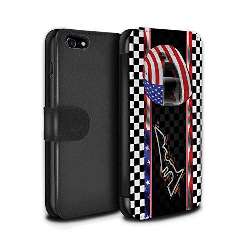 Stuff4 Coque/Etui/Housse Cuir PU Case/Cover pour Apple iPhone 7 / Espagne/Catalogne Design / F1 Piste Drapeau Collection USA/Austin