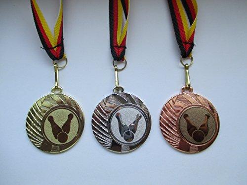 Pokale & Preise Tennis Pokal Kinder Medaillen 3er Set mit Deutschland-Bändern Turnier mit Emblem