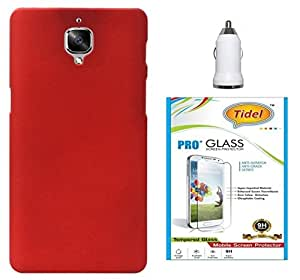 Tidel Ultra Thin and Stylish Rubberized Back Cover for One Plus 3 (RED) With Tidel 2.5D Curved Tempered Glass & Car Charger Adapter