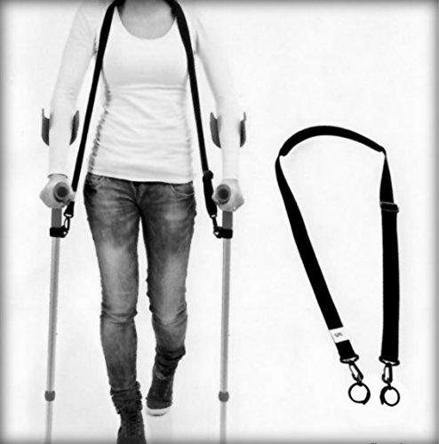 Krücken-Band NEUHEIT 2016 mit Klettband noch konfortabler = freie Hände, Zubehör für Unterarm-Gehstützen, konfortables Krückenhalteband, schwarz