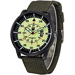 QBD Boy's Date Water Resistant Wrist Watch Nite Luminous Night Vision Army Nylon Green