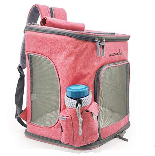 Transportbox Rucksäcke Tragetasche Haustier Schulter Breathable Träger im Freien Spielraum-Katze-Hundetasche Grid Comfort Pet Pack 43,0 cm * 45,0 cm * 7,0 cm,Pink dog carrier Atmungsaktive Folding -