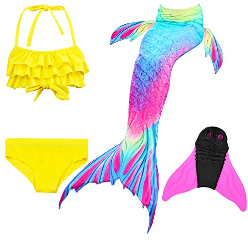 2018 Mädchen Meerjungfrau Schwanz Badeanzug - Prinzessin Cosplay Bademode für Das Schwimmen mit Bikini Set und Monoflosse, 4 Stück Set