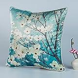 DW HCKK Silk Kissen Chinesische Vogel und Blume-Kissen Mahagoni Sofakissen Bett Kissen Büro-Kissen-C 45x45cm(18x18inch) VersionB