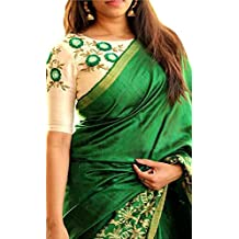 Sarees New Collection Latest Of 2017 Green By Clothsfab-( Sarees For Women Party Wear Offer Designer Sarees For Women Latest Design Sarees New Collection Saree For Women Saree For Women Party Wear Saree For Women In Latest Saree With Designer Blouse Free