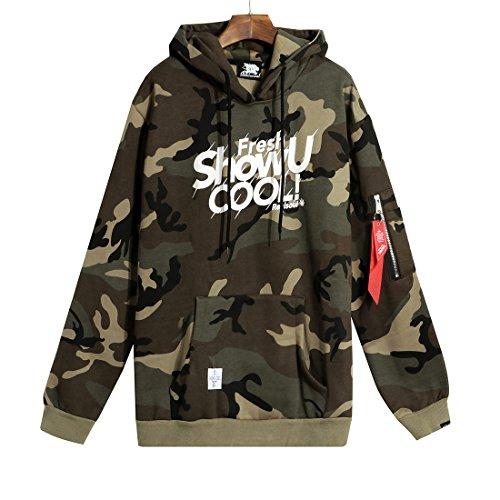Felpa con cappuccio in pile recon tattico da uomo camo hoodies dell'esercito pullover felpa con camicia da camuffamento classica (m)