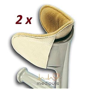 Polster für Gehstütze WEIß/GRAU [2 Stück] Gehhilfe Krücken Unterarmgehstütze – Zubehör gegen Reibung und Druck┇Kissen Puffer für Ellenbogen Unterarm Oberarm