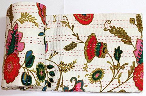 Mango Geschenke Kantha Quilt, Bett Floral Werfen, indische Baumwolle Tagesdecke hergestellt, gestaltet of India 223,5x 274,3cm Zoll ca. -