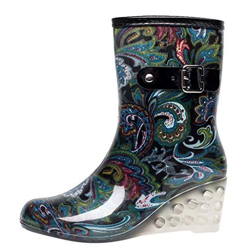 Damen Gummistiefel Leopard Drucken Wedge Regenstiefel Trendige Wasserdicht Rutschfeste Gartenschuhe Freizeit Outdoor Regenschuhe Stiefel PVC Reißverschluss Rain Boots (35.5 EU, Blau) -