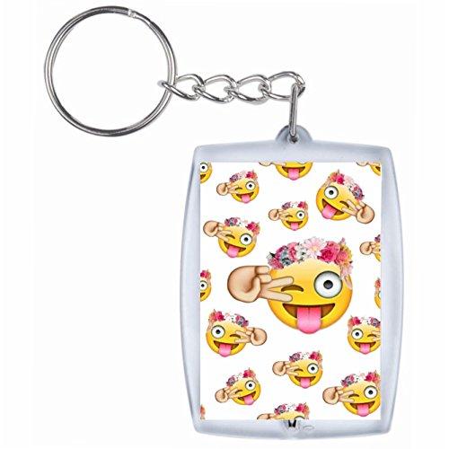 Druckerlebnis24 Schlüsselanhänger Fröhliche Emoji Dame mit Rosen, zwinkern und Dance Hand im Gesicht Rucksackanhänger, Taschenanhänger, Keyring, Emoji, Smiley, Exklusiv