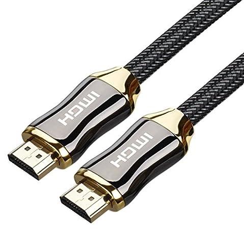 4K UHD HDMI 2.0goodlucking tressé cordon Ultra 18Gbit/s haute vitesse Connecteurs plaqué or Ethernet Retour, audio et vidéo 4K 2160p HD 1080P 3D Xbox Playstation PS3et la plupart des projecteurs