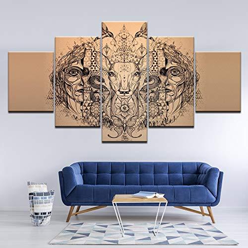 lglays Bild auf Leinwand 5 Panel Modular Ethnischen Stil Muster Tier Elch Leinwand Fotokunst Wand Moderne Wohnzimmer Wohnkultur Abstrakte Malerei Kunstwerk-20x35cm/45cm/55cm