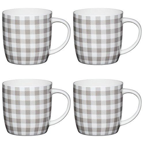Kitchen Craft Grau Karierte Faßbecher mit klaßischem Muster,425 ml, Porzellan, weiß, 12.4 x 8.9 x...