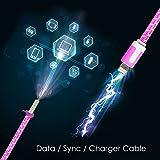 Lightning Kabel - 2m, Rosa, geflochten flach - Sehr schnelles iPhone 7 Ladekabel - verstärktes USB Datenkabel mit Knickschutz - Für Apple iPhone 7 6 5, iPad, iPod - SWISS-QA Geldrückgabe Garantie - 7