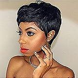Hotkis 100% cheveux humains courte Pixie Perruques court Noir Cheveux Bob Perruques pour femmes (Hts810)