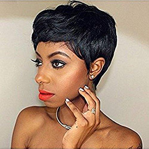 Hotkis 100% capelli umani breve pixie parrucche corto nero capelli bob parrucche per le donne (hts810)