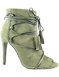 Angkorly - Zapatillas de Moda Sandalias Botines stiletto sexy abierto mujer encaje fleco pompom Talón Tacón de aguja alto 10.5 CM - Verde