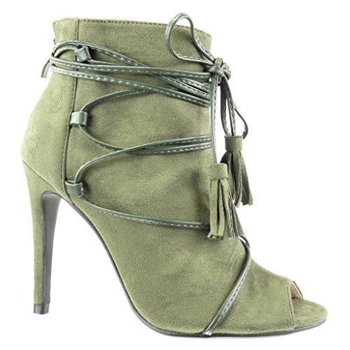 Angkorly - damen Schuhe Sandalen Stiefeletten - Stiletto - Sexy - Offen - Spitze - Franse - Bommel Stiletto high heel 10.5 CM - Grüne 238-9 T 39