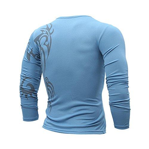 Swallowuk Tattoo Rundhals langes Ärmel Slim T-Shirt Blau