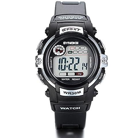 Jewelrywe Boys Girls Sport Digital Watch with Alarm Stopwatch Chronograph Gray
