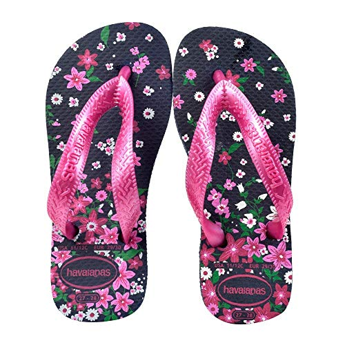 Havaianas Unisex-Kinder Kids Flores Zehentrenner, Mehrfarbig (Navy/Pink 7204), 33/34 EU