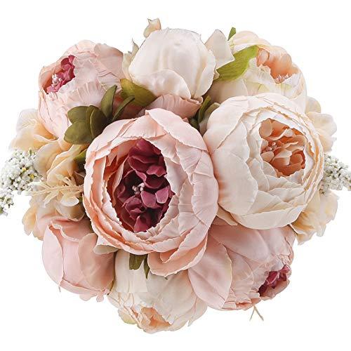 Cherrboll, bouquet vintage con fiori di seta, peonie artificiali, per decorazioni in casa per feste di matrimonio light pink