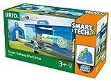 BRIO World 33918 Smart Tech Eisenbahn-Werkstatt – Lok-Werkstatt & Action-Tunnel mit Sound-Effekten...