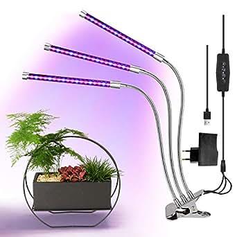 Belle 27W Lampada per Piante con 54 LED,Triplo Testa Led Luce per Piante Lampada da Coltivazione Indoor,3 Modi Timer, 360 Gradi Flessibile Collo di Cigno
