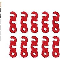 Ruiting 10pcs Tensores Aleacin Aluminio Corredor de Cuerda para Tienda de Campana Rojo