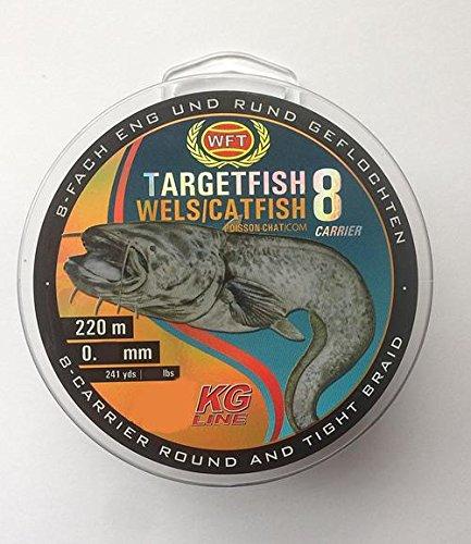 WFT TF8 Catfish Brown 220m 0,50mm 48kg - Wallerschnur zum Wallerangeln, Welsschnur, Geflochtene Angelschnur für Waller