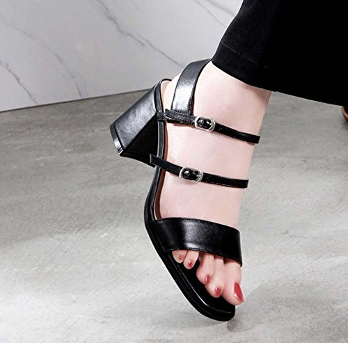 NobS Cintura in pelle in pelle aperta in pelle Mary Jane Tacchi alti Sandali Cinturino in Caviglia Sandali con tacco a zeppa Black