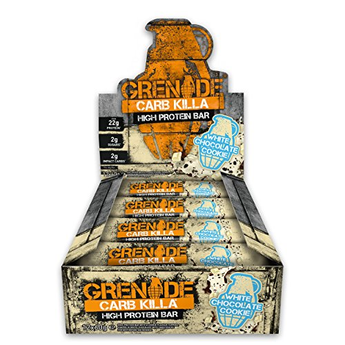 Grenade Carb Killa High Protein and Low Carb Bar, 12 x 60 g - White Chocolate Cookie Test