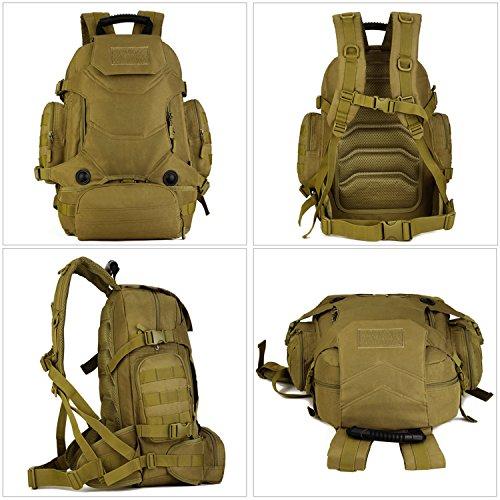 SUNVP Tactical Military Rucksack Molle Large Assault Rucksack 40L 3 Way Wasserdichte Tasche für die Jagd Camping Trekking im Freien Schwarz