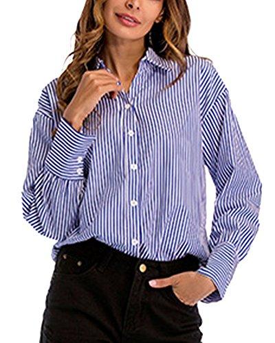 Donna maniche lunghe risvolto bottoni camicia righe verticali camicie casual sciolto blu l