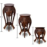 Beistelltisch Nachttisch Rundhocker Blumenhocker Teak Holz Hocker Barock Massiv, Farbe:Dunkelbraun, Größe:65 cm