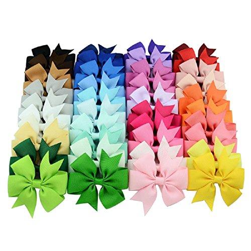 Huishunxin Set 40 Farben Haarschleifen Boutique Haar Bögen Girls Kinder Mädchen Alligator-Clip Haar-Clips