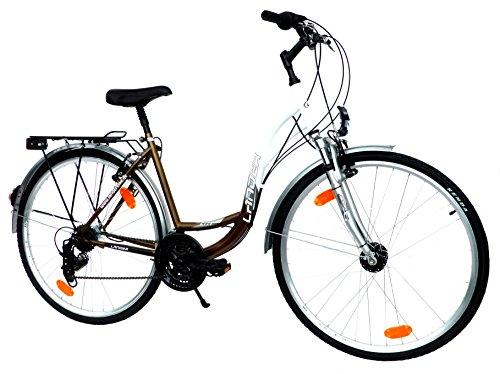 "LANDER Damen Citybike CTB Fahrrad 28"" Zoll (=71,1cm) 21 Gang Shimano Federung Nabendynamo StVZO weiß - bronzemetallic"