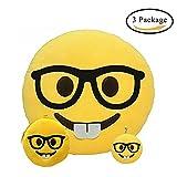 Almohadas Emoji, Amarillas Redondas Cojín de Emoticon de Felpa y Suaves (Dientes delanteros mijo)